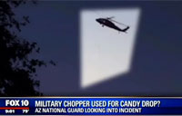 Army Helicopter Conducts Candy Air Drop