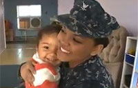 Adorable Reunion of Sailor and Daughter