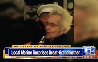 Marine Surprises Great-grandmother on Christmas