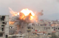 Huge IEDs Fall from the Sky in Damascus