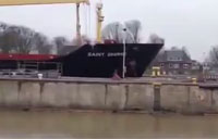 Ship Crashes into Floodgate in Germany
