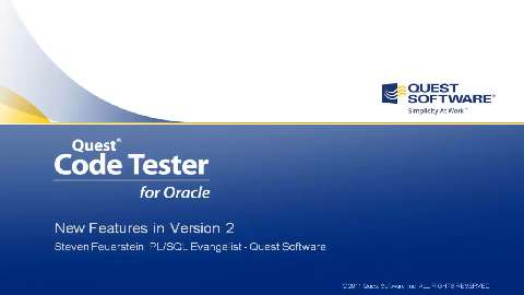Code Tester for Oracle - Version 2 Features