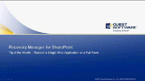 Recovery Manager for SharePoint - Restoring a Web Application or Farm