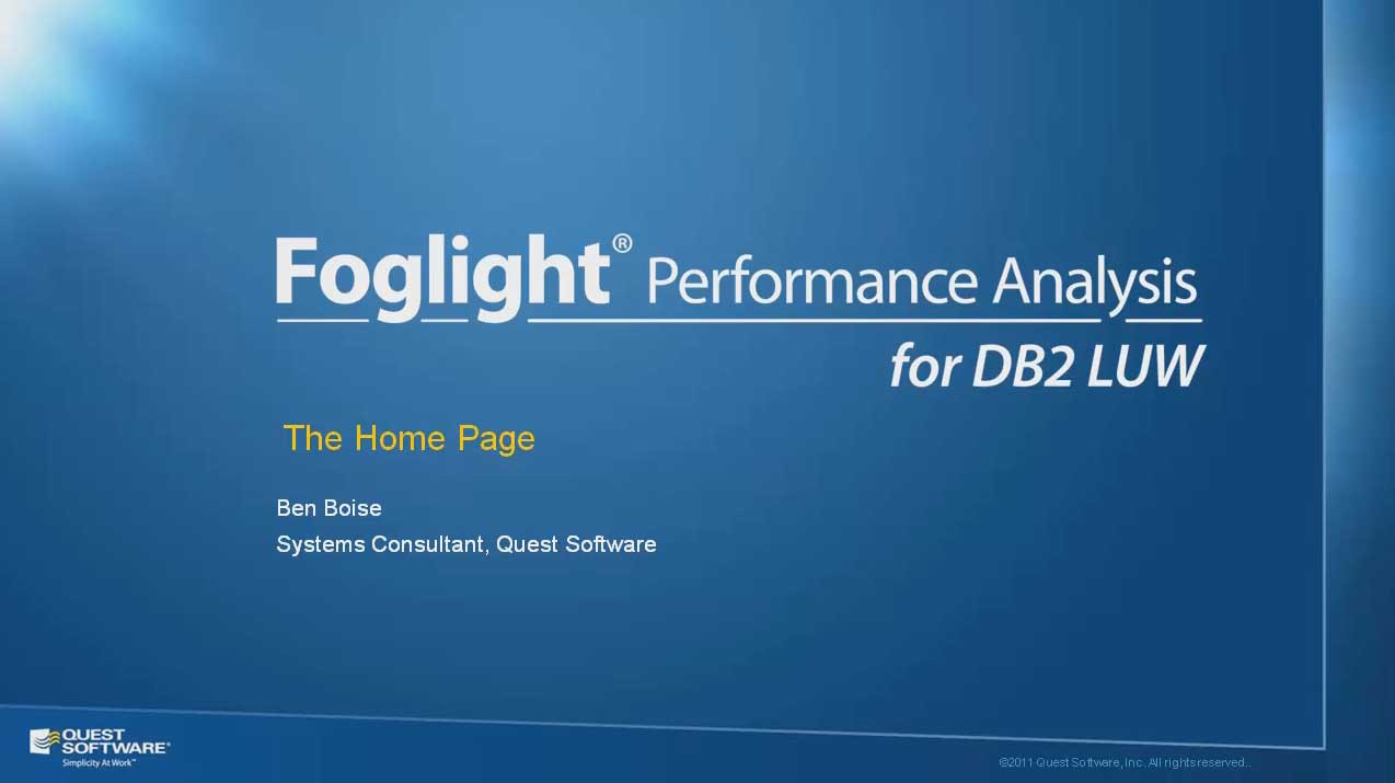 Foglight Performance Analysis for DB2 LUW - Home Page