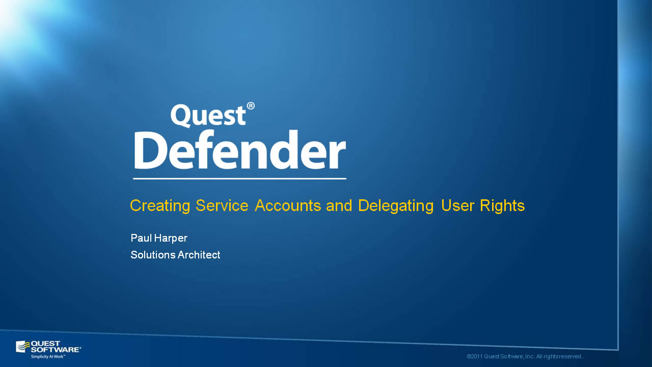Creating Service Accounts and Delegating User Rights with Defender