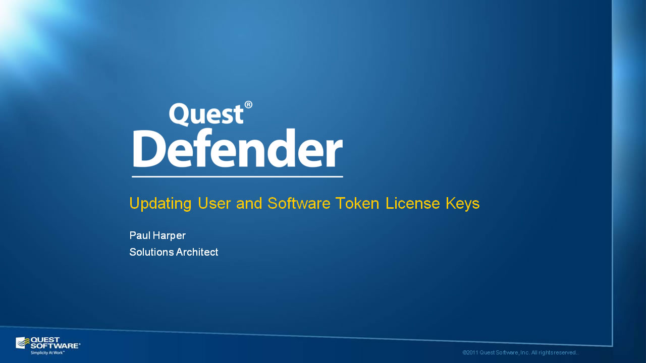 Updating User and Software Token License Keys with Defender
