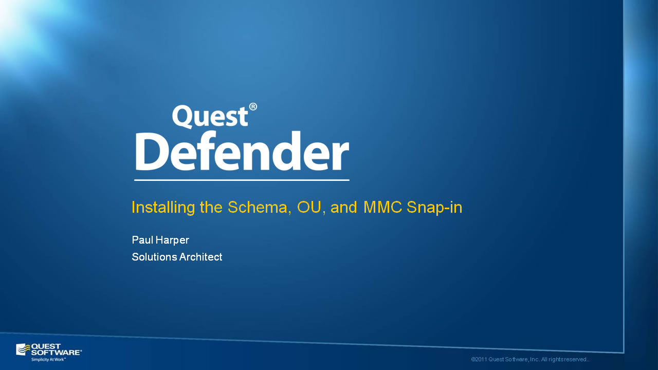Installing the Defender Schema, OU, and MMC Snap-in