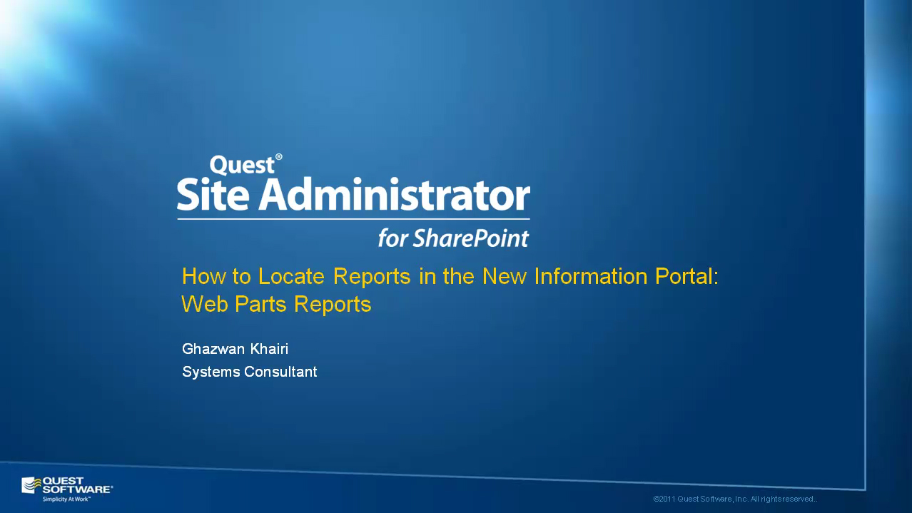 Site Administrator for SharePoint - Web Parts Reports