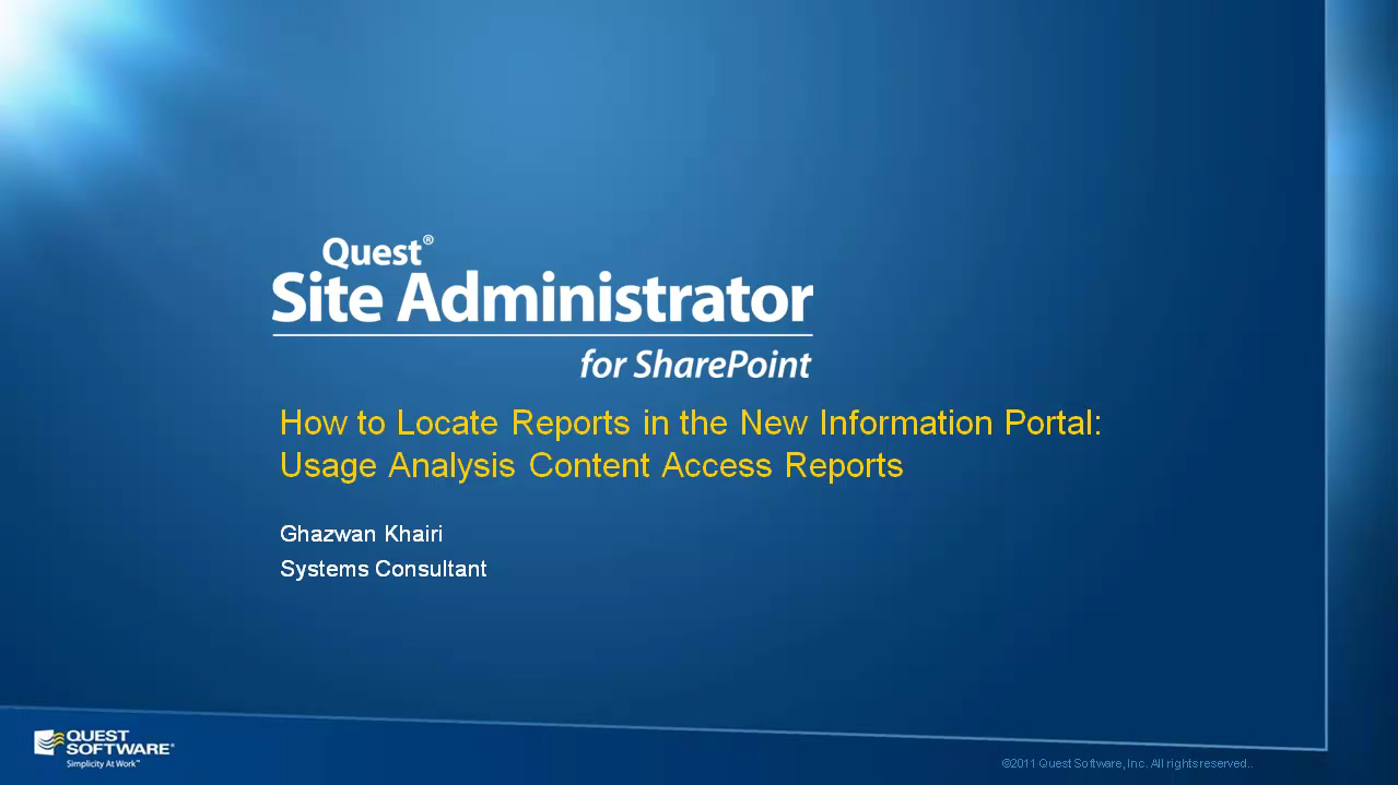 Site Administrator for SharePoint - Usage Analysis Content Access Reports