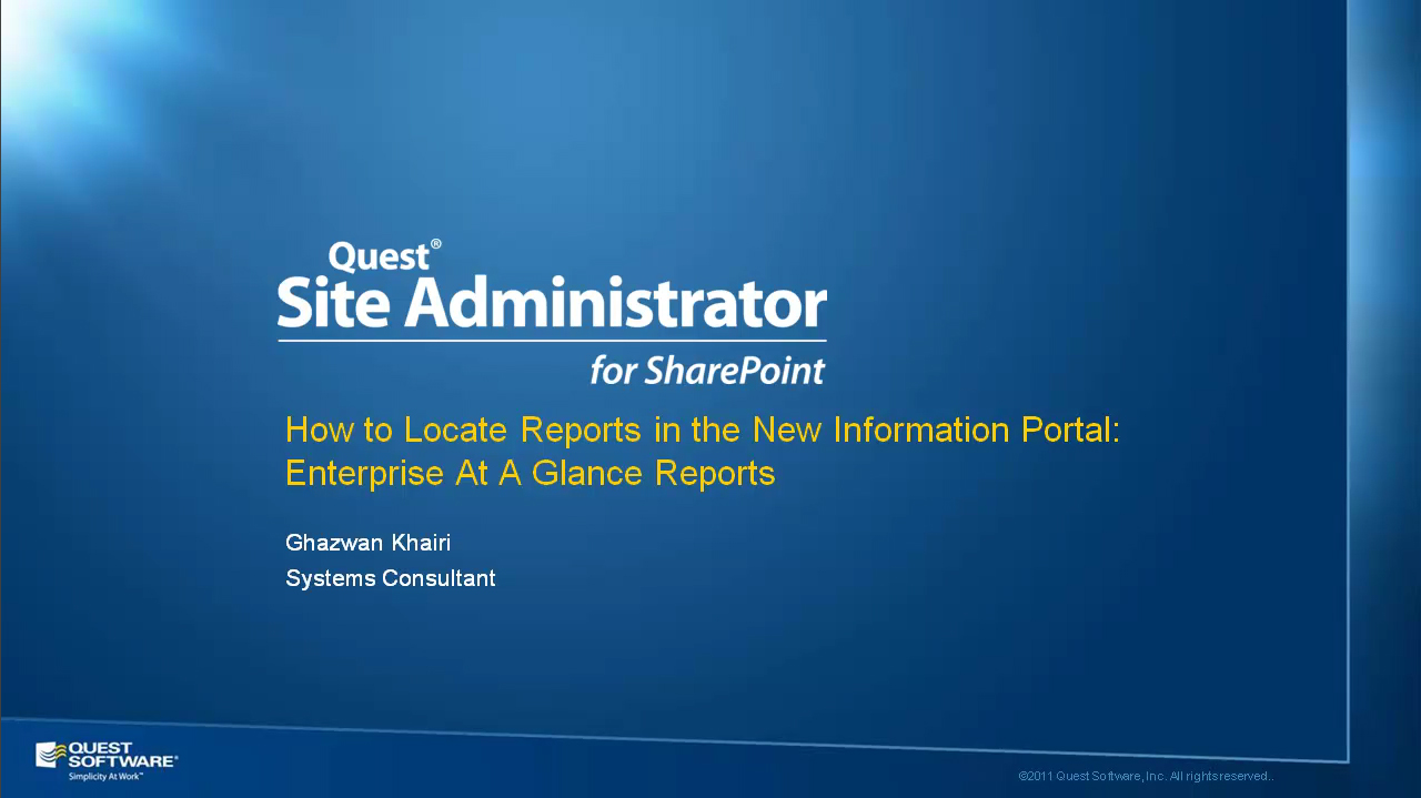 Site Administrator for SharePoint - Enterprise-at-a-Glance Reports