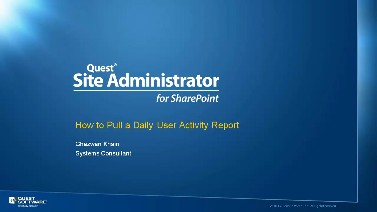 Site Administrator for SharePoint - Daily User Activity Reports