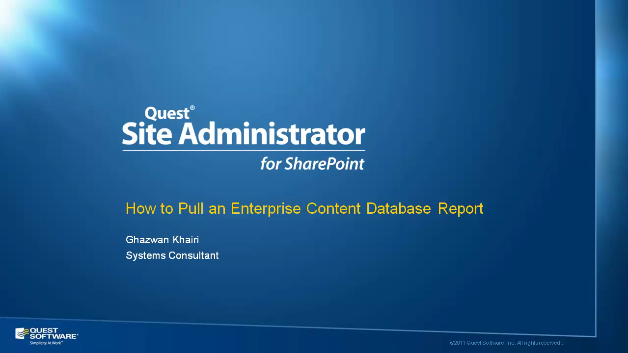 Site Administrator for SharePoint - Enterprise Content Database Reports