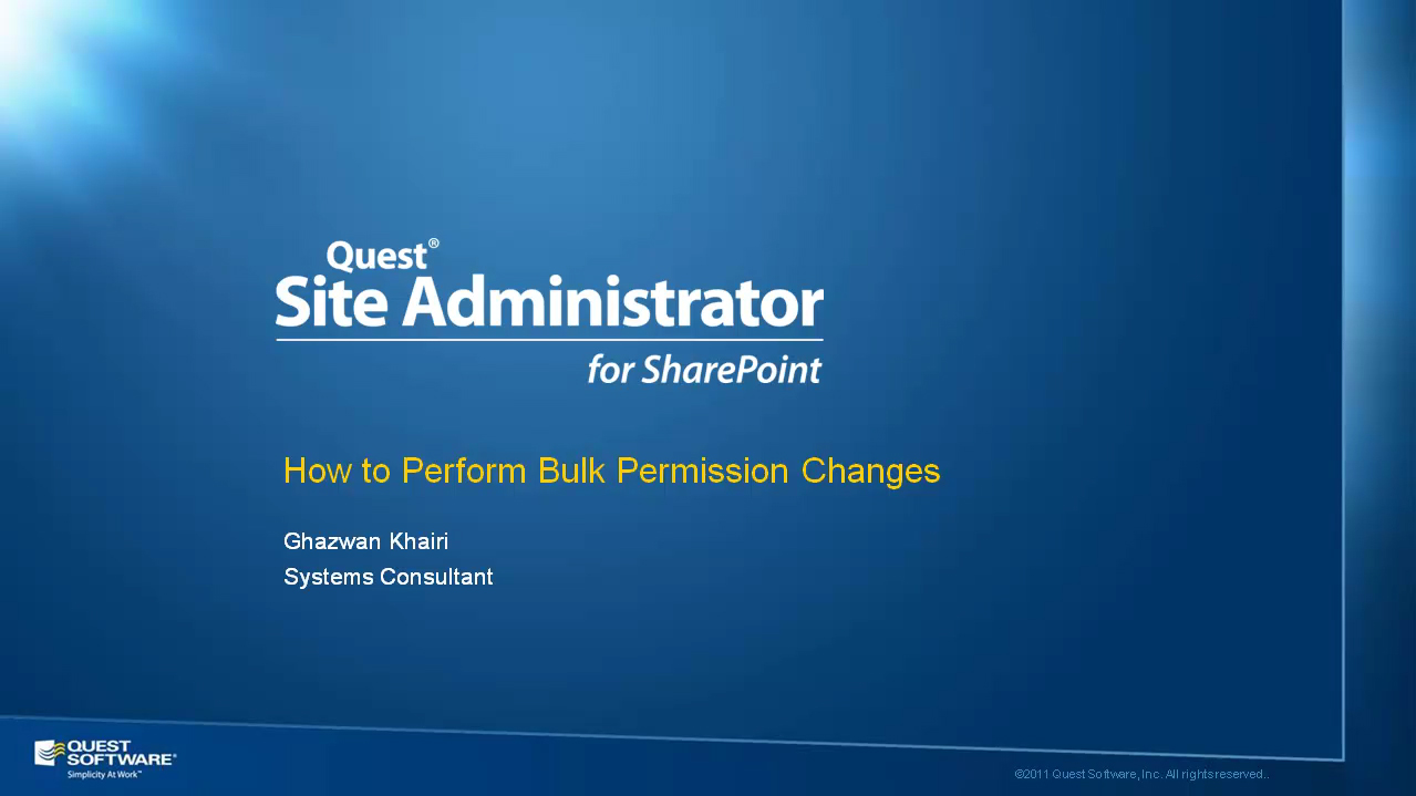 Site Administrator for SharePoint - Performing Bulk Permission Changes