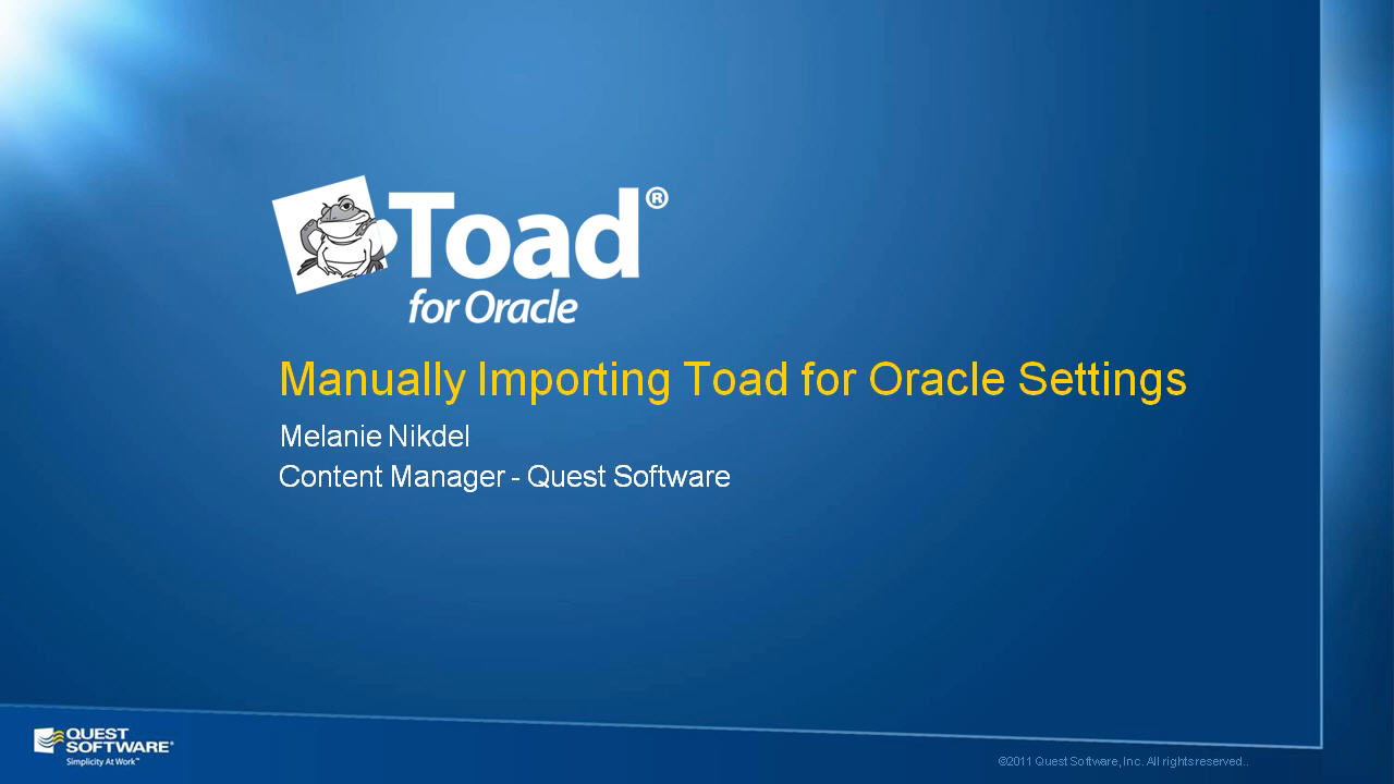 Manually Import Toad for Oracle Settings