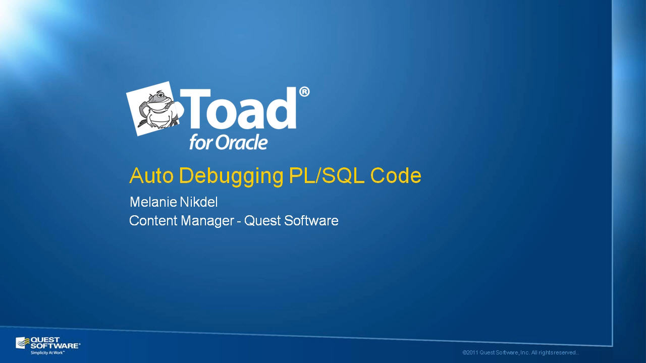 Auto Debugging PL/SQL Code with Toad for Oracle