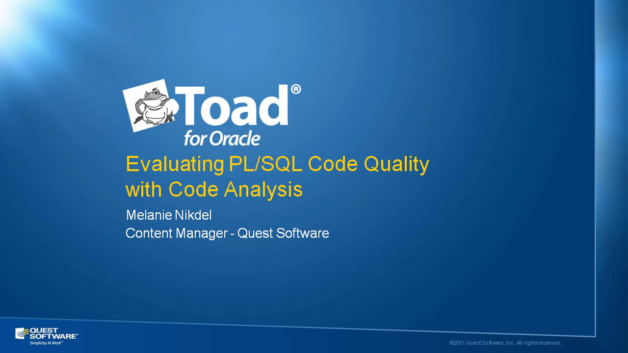 Perform Automated PL/SQL Code Analysis with Toad for Oracle
