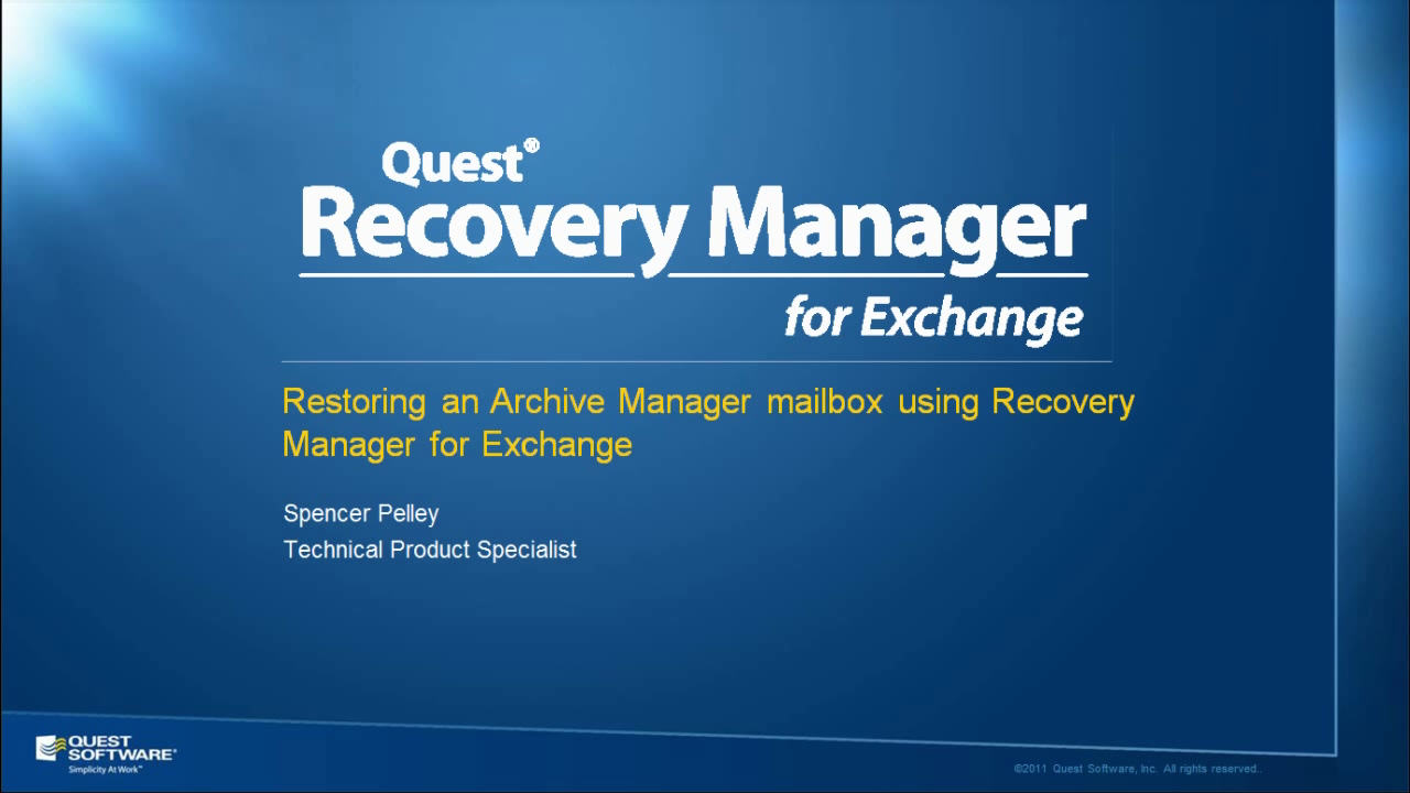 Recovery Manager for Exchange - Restoring an Archive Manager Mailbox