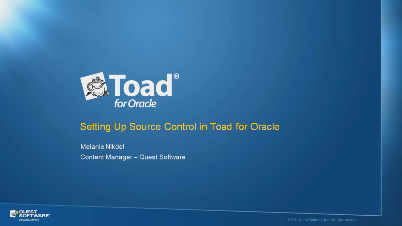 Setting Up Source Control in Toad for Oracle