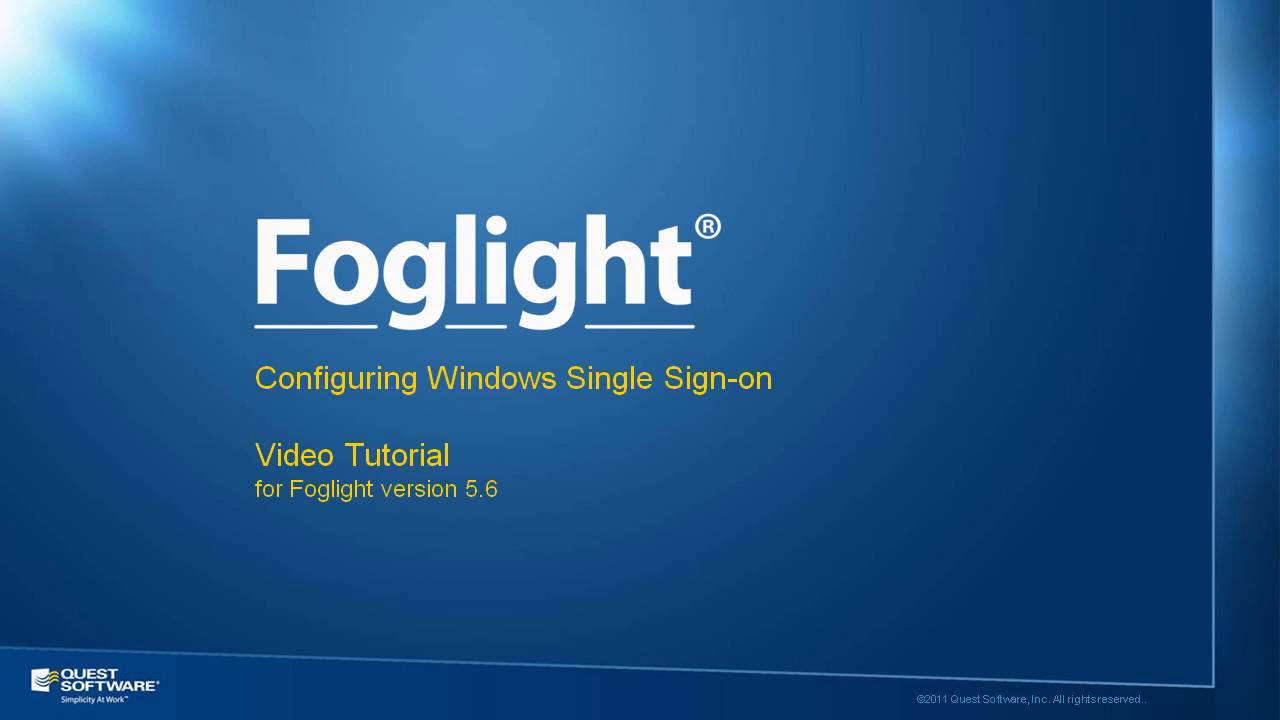 How to Configure Active Directory Single Sign-on in Foglight