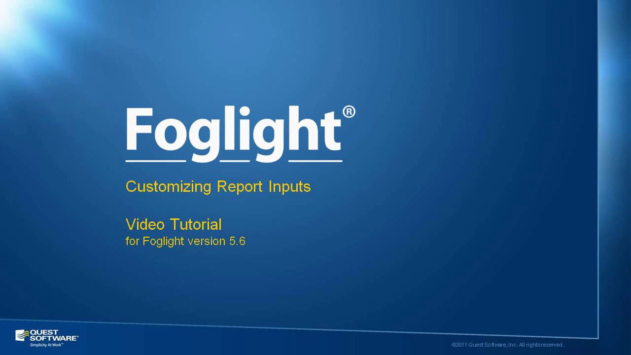 Customizing Foglight Reports with Parameterized Inputs