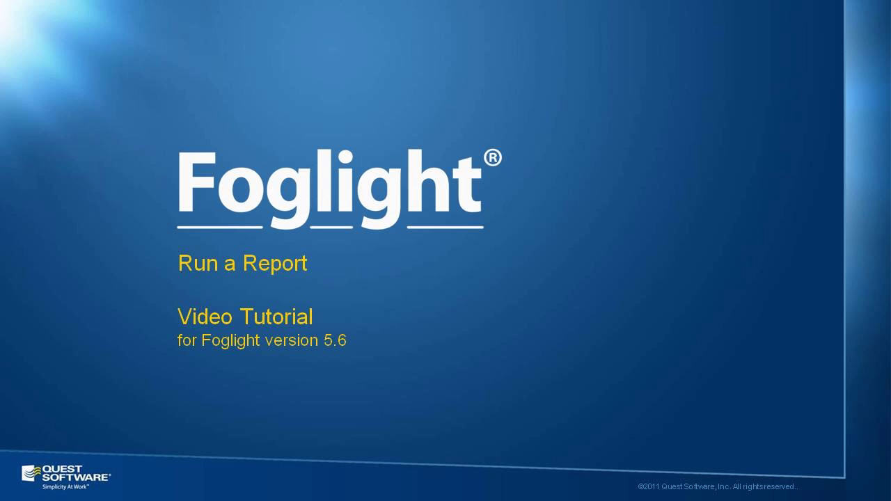 How to Run Foglight Reports