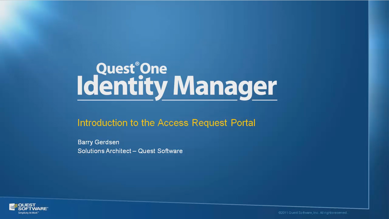 Introduction to the Quest One Identity Manager Access Portal