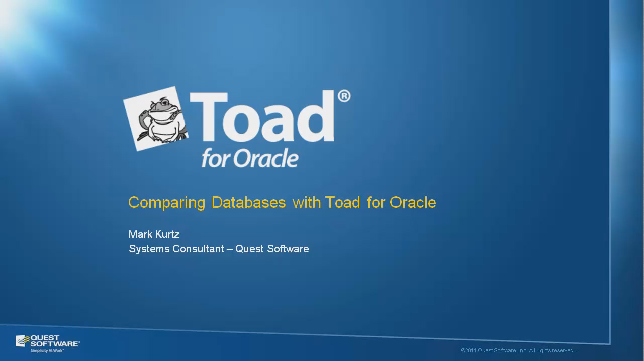 Comparing Databases with Toad for Oracle