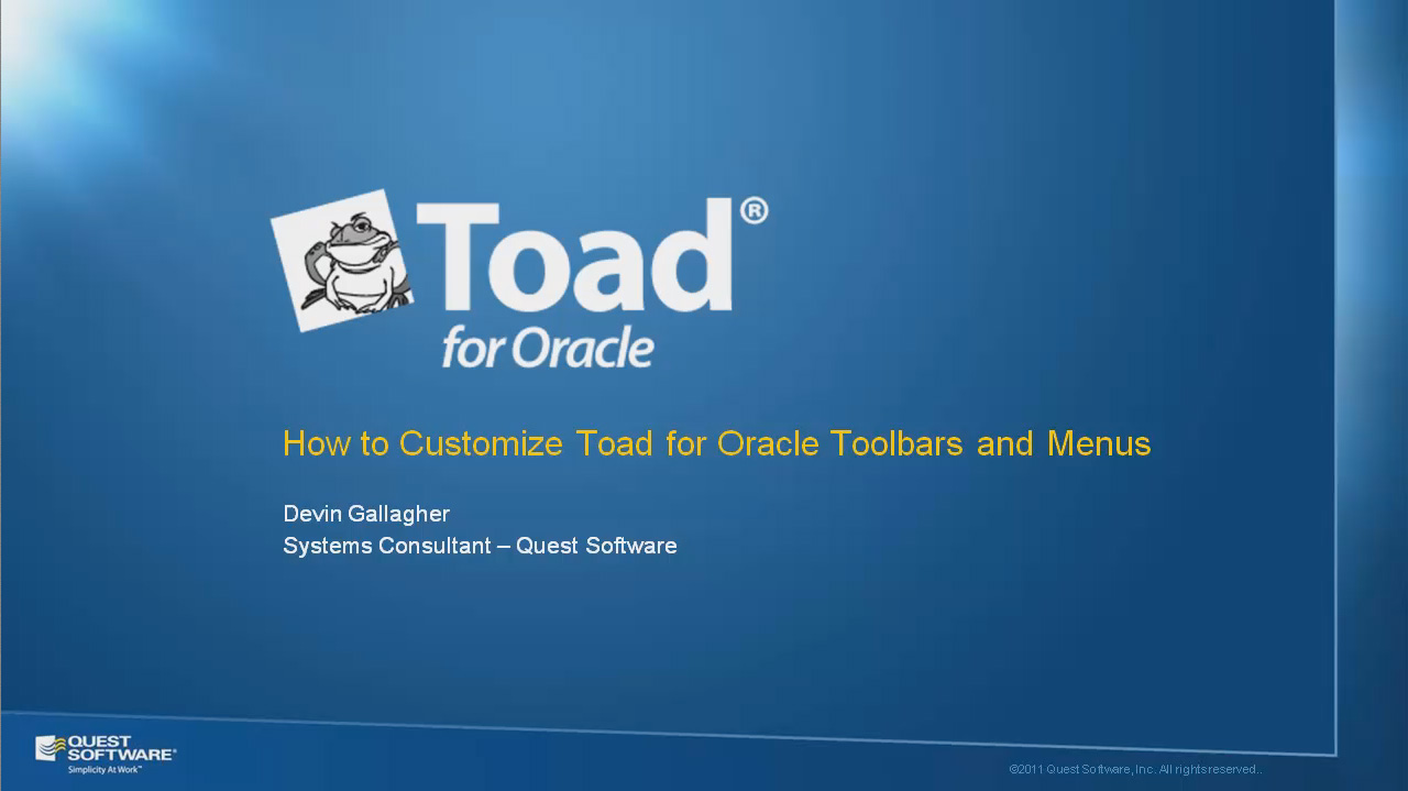 How to Customize Toad for Oracle Toolbars and Menus