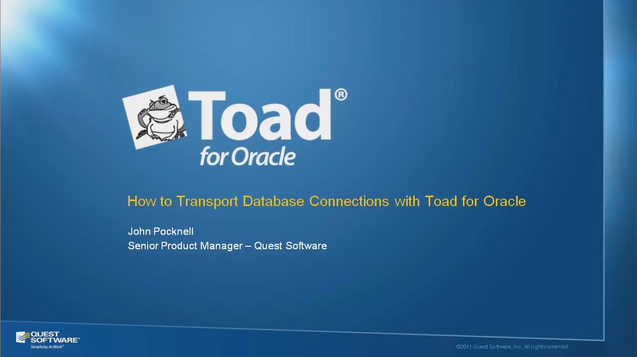 How to Transport Database Connections with Toad for Oracle