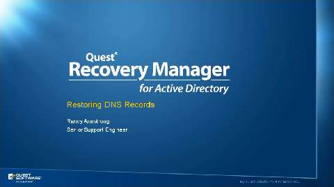 How to Recover DNS Records with Recovery Manager for Active Directory
