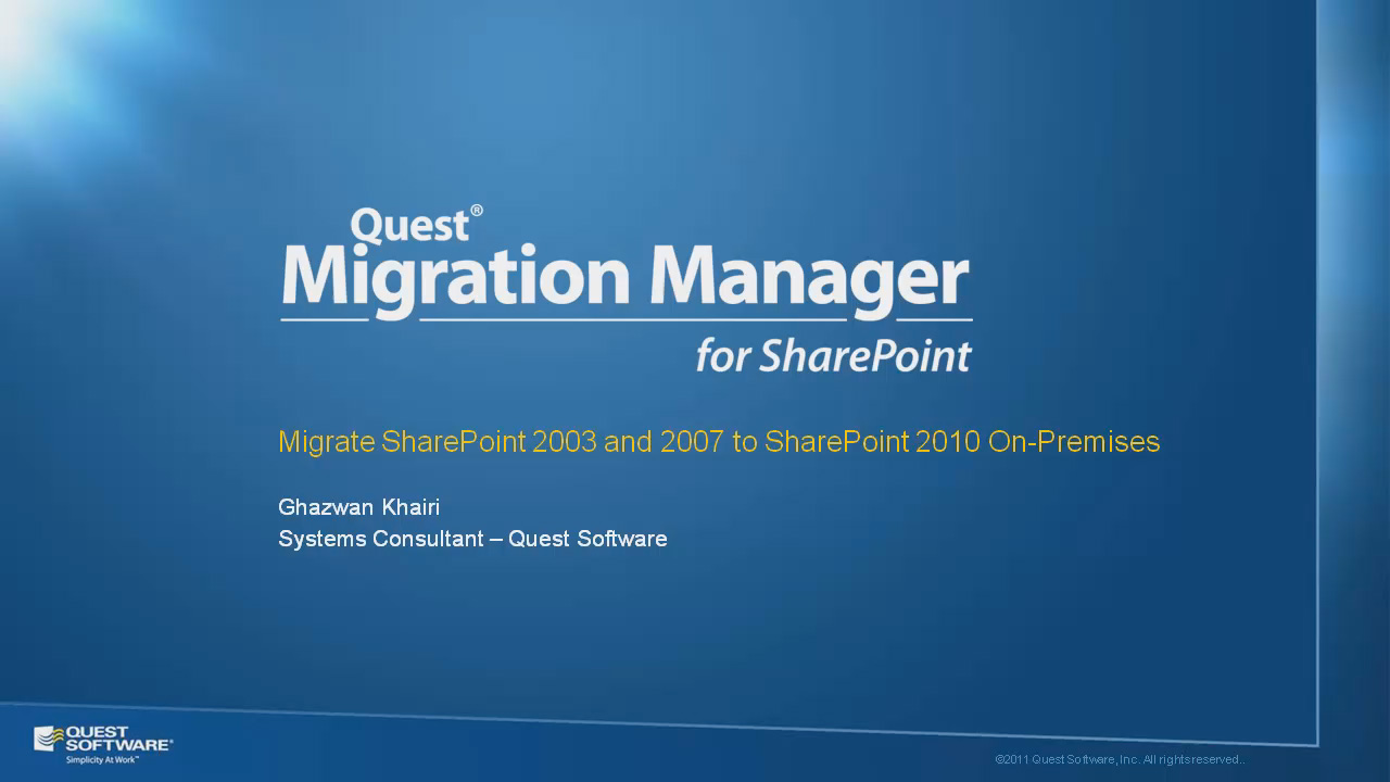 Migrate SharePoint 2003 and 2007 to SharePoint 2010 On-Premises