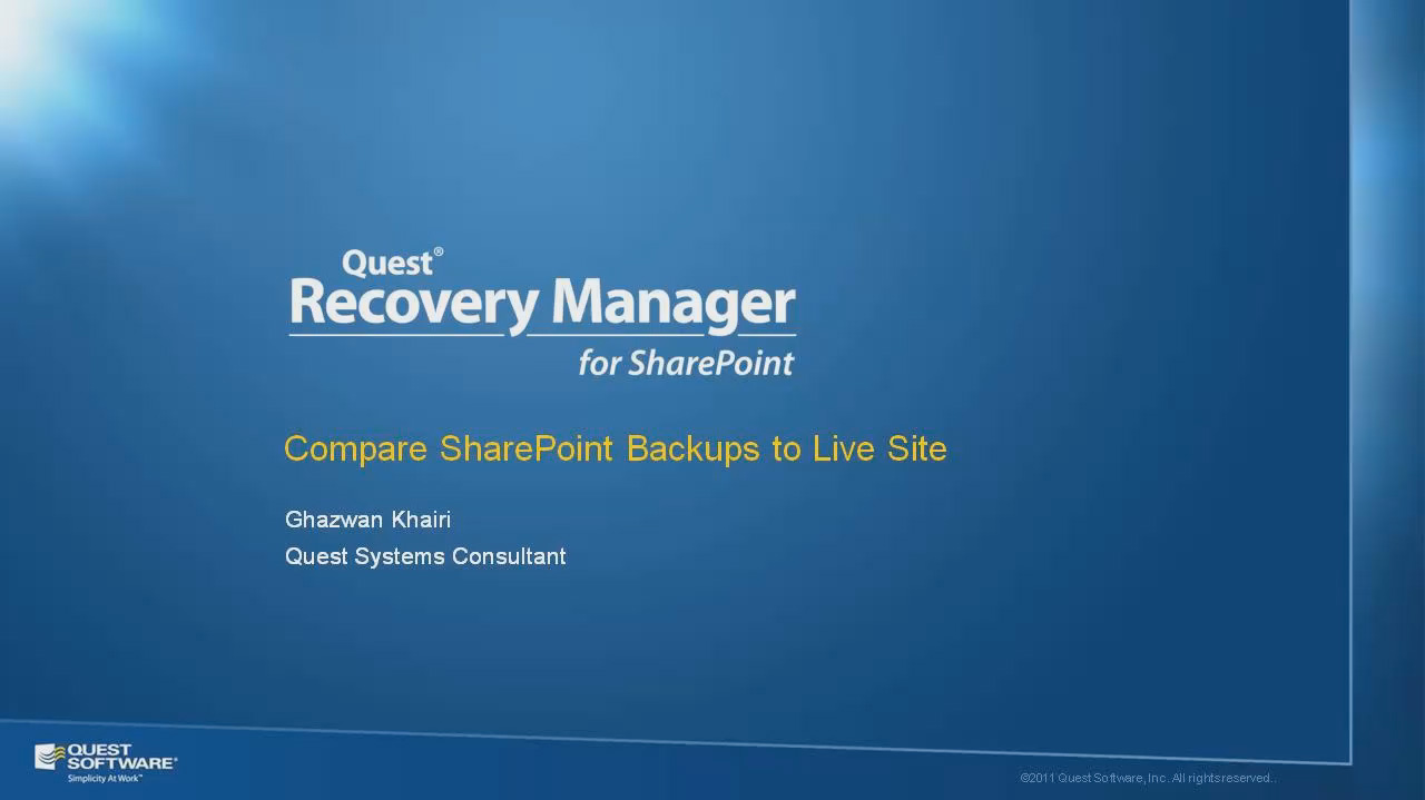 Compare SharePoint Backups to a Live Environment
