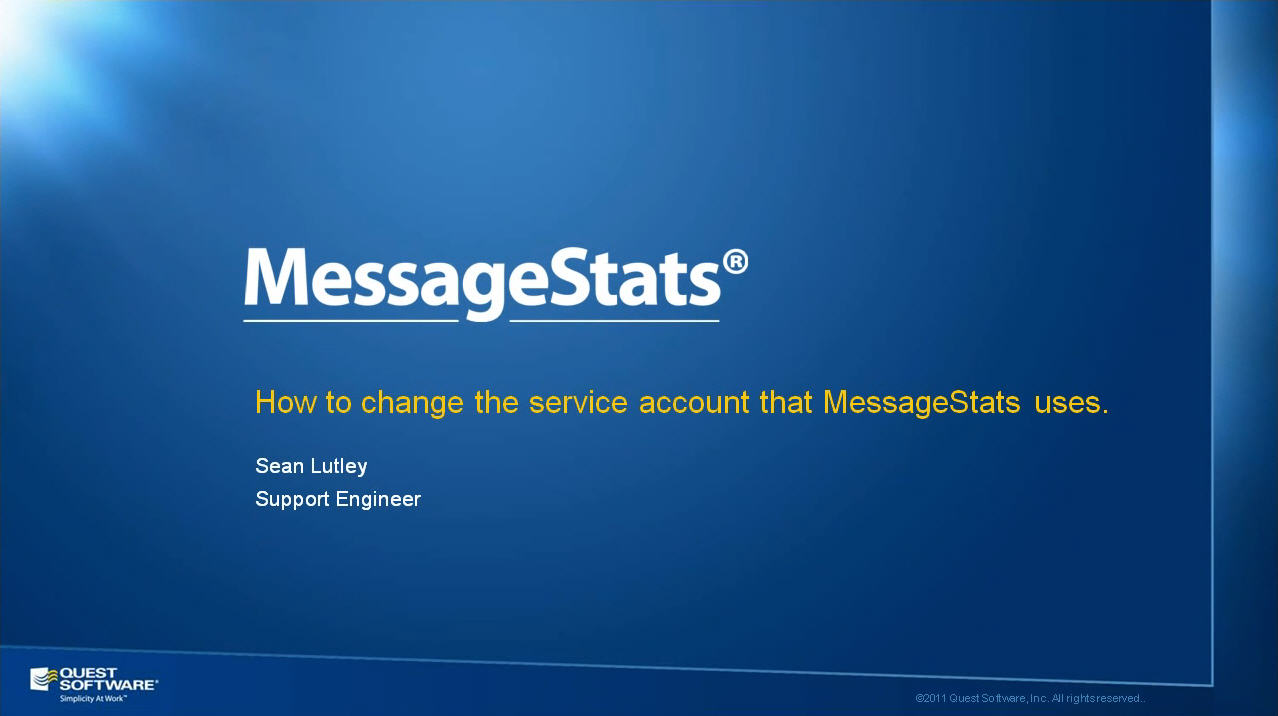 How to Change the MessageStats Service Account and Password