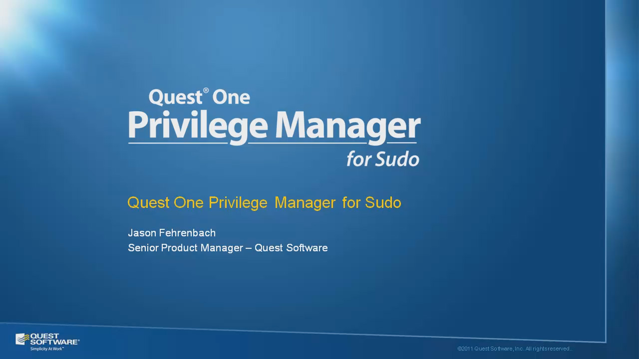 Quest One Privilege Manager for Sudo