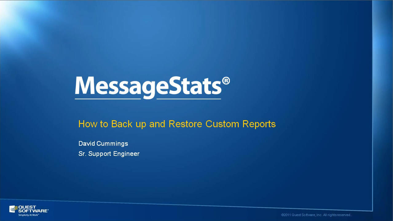 How to Backup and Restore MessageStats Custom Reports