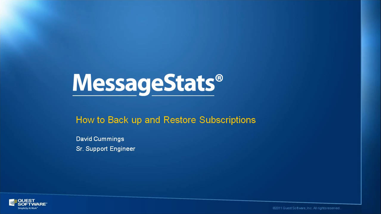 How to Backup and Restore MessageStats Report Subscriptions