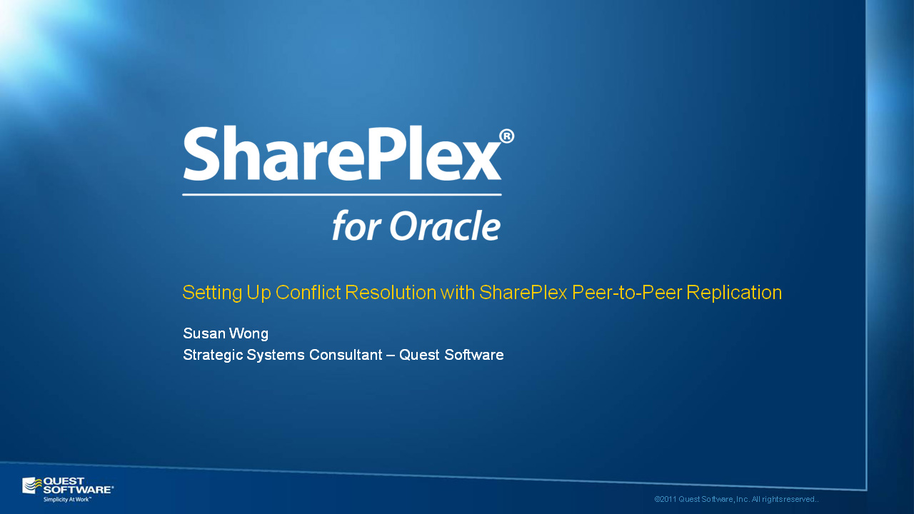 Setting Up Conflict Resolution with SharePlex Peer-to-Peer Replication