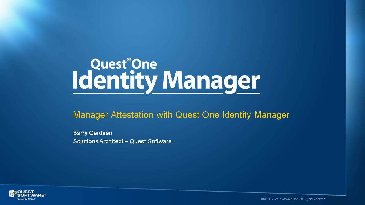 Manager Attestation with Quest One Identity Manager