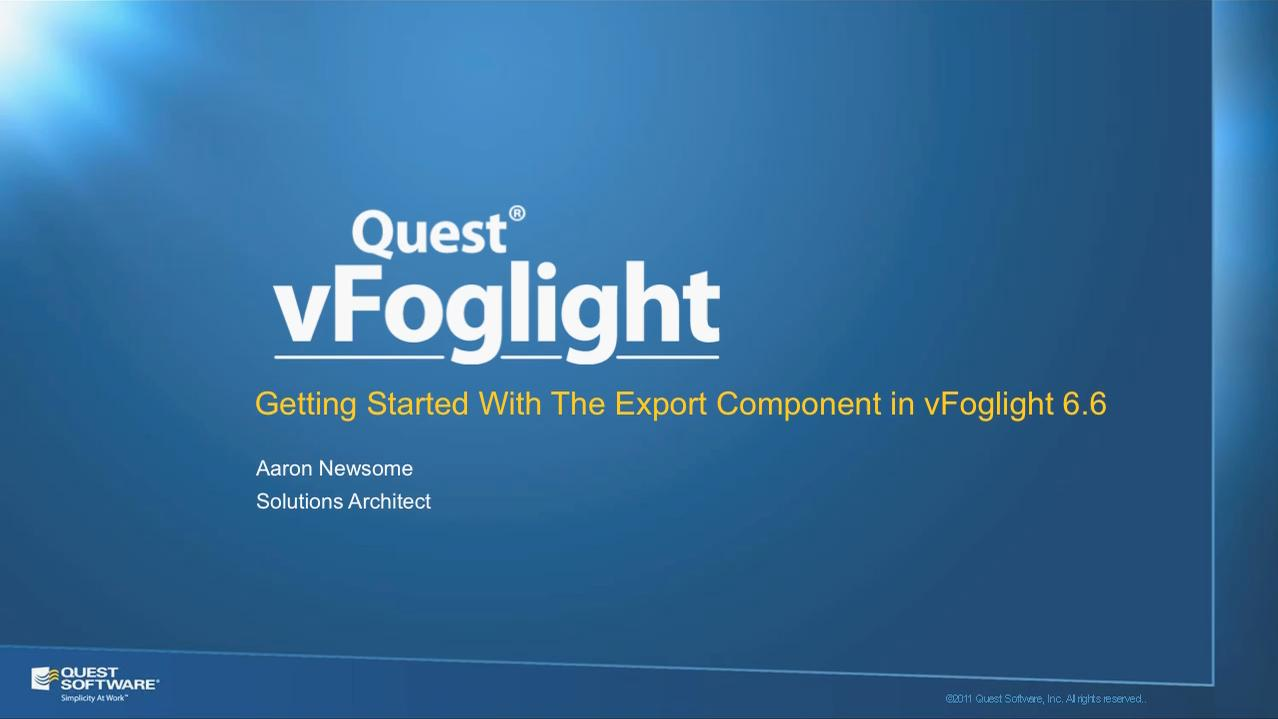 Create Third-Party Reports on VMware Data with vFoglight