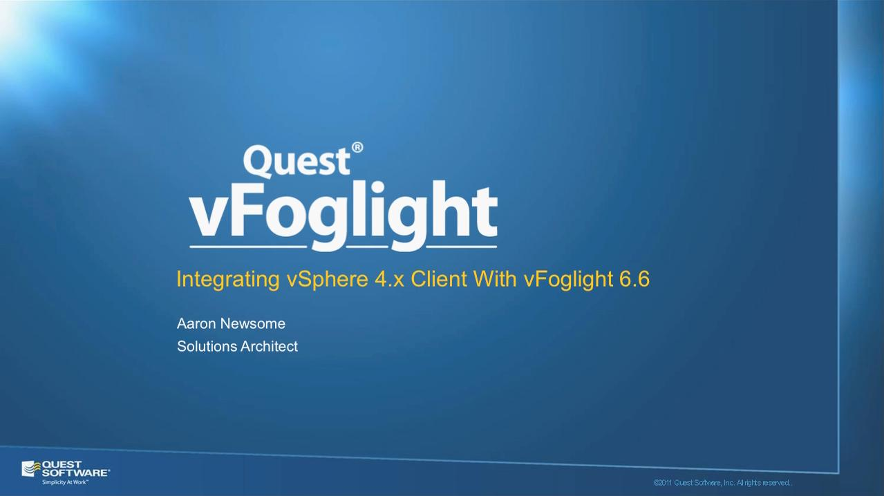 Accessing vFoglight's VM Explorer from vSphere