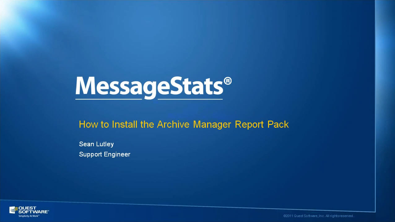 How to Install the MessageStats Archive Manager Report Pack