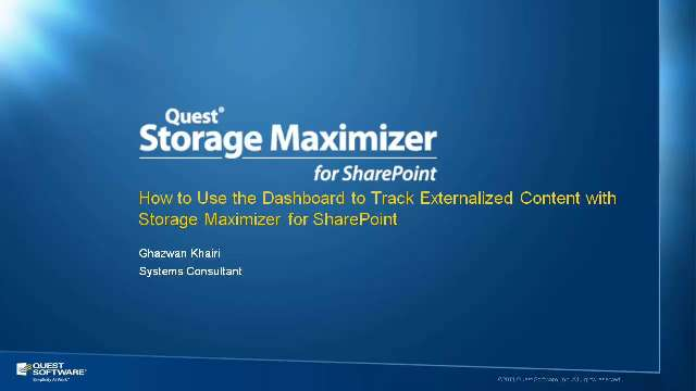Dashboard in Storage Maximizer for SharePoint