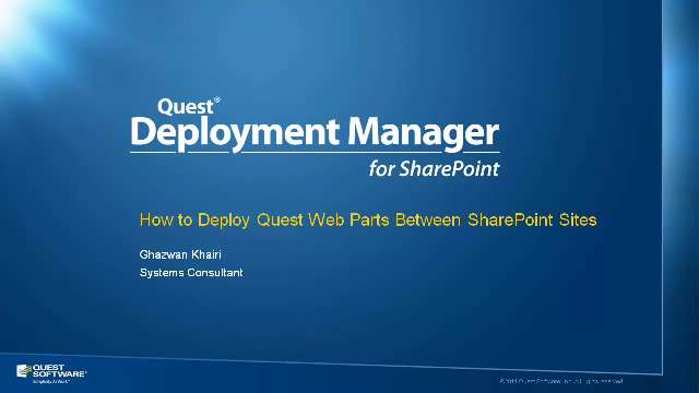 How to Deploy Quest Web Parts Between SharePoint Sites
