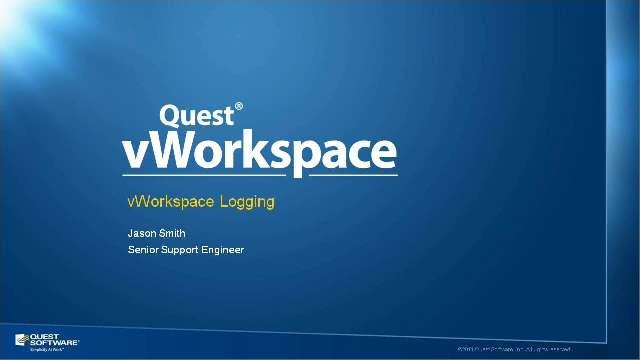How to Set up vWorkspace Logging