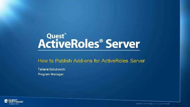 How to Publish Add-ons for ActiveRoles Server