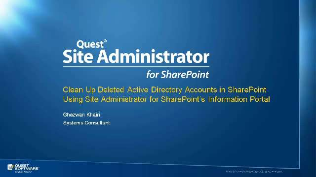 Remove Deleted AD Accounts with Site Administrator for SharePoint