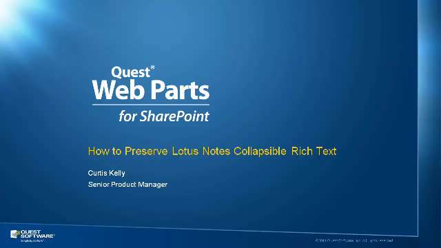 Preserve Lotus Notes Collapsible Rich Text with Quick Apps for SharePoint