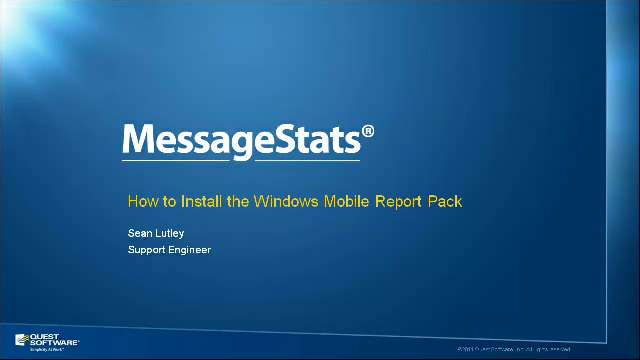 How to Install the Windows Mobile Report Pack for MessageStats