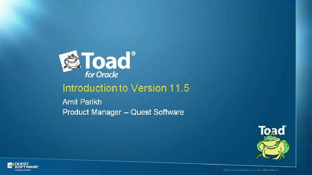 Introduction to Toad for Oracle Version 11.5