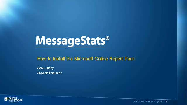 How to Install the Microsoft Online Report Pack for MessageStats